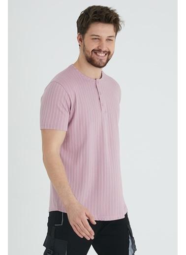 XHAN Hardal Düğmeli Likralı T-Shirt 1Kxe1-44643-37 Mor